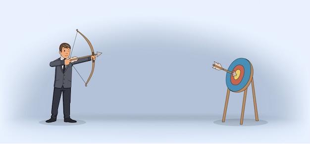 Uomo d'affari che spara un arco e una freccia. tiro con l'arco in tuta. illustrazione piatta. orizzontale.