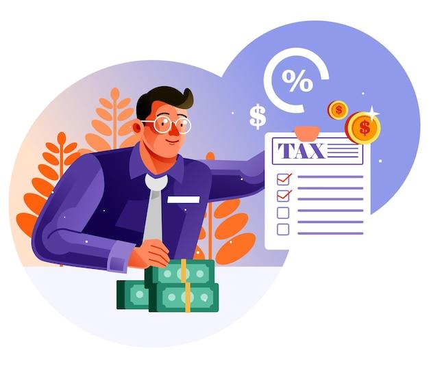 Uomo d'affari che mostra documento fiscale