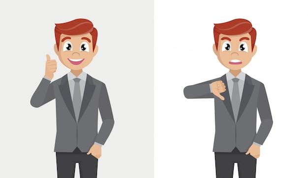Uomo d'affari che mostra pollice su e pollice giù. mi piace e non mi piace il concetto di feedback.