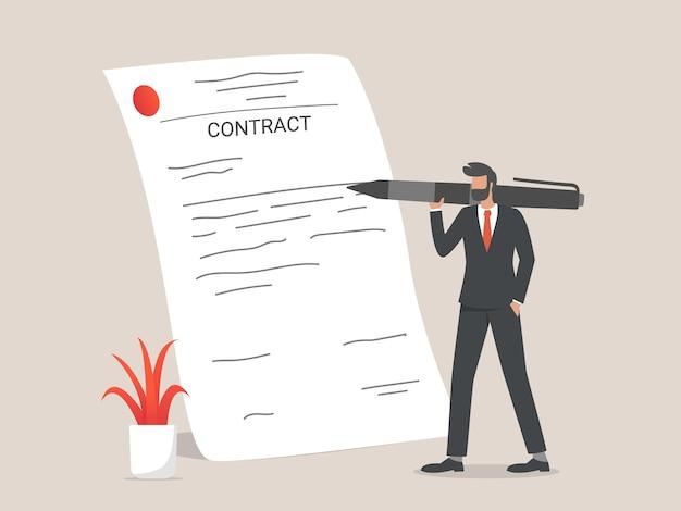 Contratto di firma dell'uomo d'affari. concetto di accordo contrattuale.