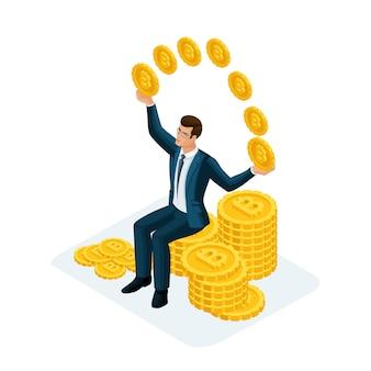 Uomo d'affari seduto su un grande mucchio di soldi e lanciando monete d'oro crypto currency, bitcoin. illustrazione di un investitore finanziario