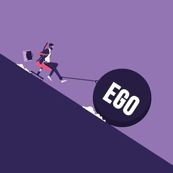 Uomo d'affari seduto su una sedia e un carico pesante di ego