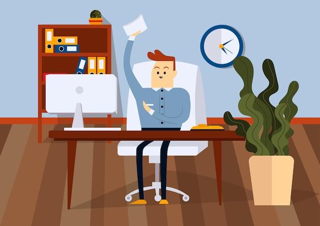 Uomo d'affari seduto su una sedia in ufficio e in possesso di documenti cartacei. vista frontale. illustrazione del fumetto di vettore di colore