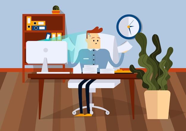 Uomo d'affari seduto su una sedia in ufficio e in possesso di documenti cartacei. vista frontale. illustrazione piana di vettore di colore