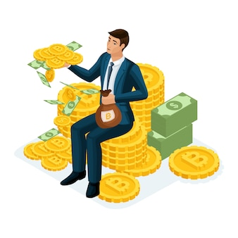 Uomo d'affari seduto su una collina di monete d'oro crypto currency, ico, bitcoin, dollari, contanti, guadagnato un sacco di soldi, scala di carriera