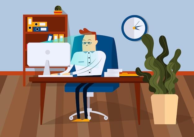 Uomo d'affari seduto sulla sedia da ufficio alla scrivania del computer. sta guardando il monitor del computer. vista frontale. illustrazione del fumetto di vettore di colore