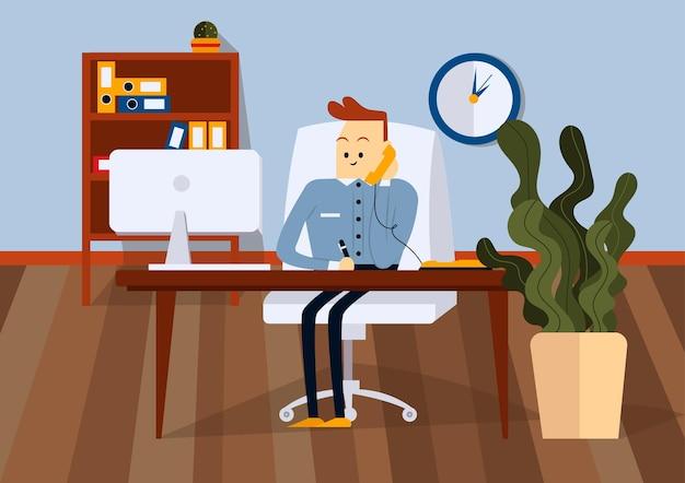 Uomo d'affari seduto sulla sedia da ufficio alla scrivania del computer. sta parlando al telefono e scrive con una penna su carta. vista frontale. illustrazione del fumetto di vettore di colore
