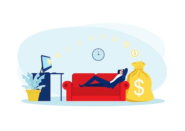Uomo d'affari seduto sul divano, rilassarsi e fare soldi passivamente. finanza, investimento, ricchezza, reddito passivo. concetto di lavoro ufficio