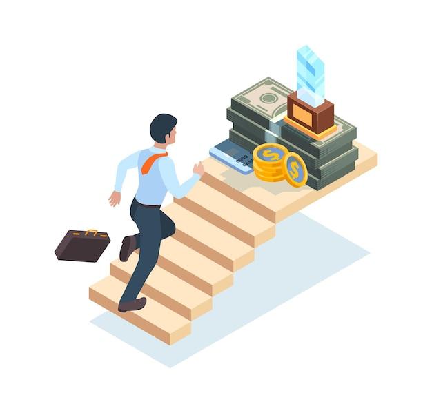 Uomo d'affari sulle scale. scala dell'uomo che esegue passi a piedi sulle scale per il successo e il concetto isometrico di vettore di vittoria. l'uomo fa carriera, illustrazione dell'obiettivo di raggiungimento dell'uomo d'affari