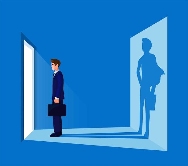 Uomo d'affari in piedi davanti alla porta con illustrazione vettoriale di sillhouette di supereroi