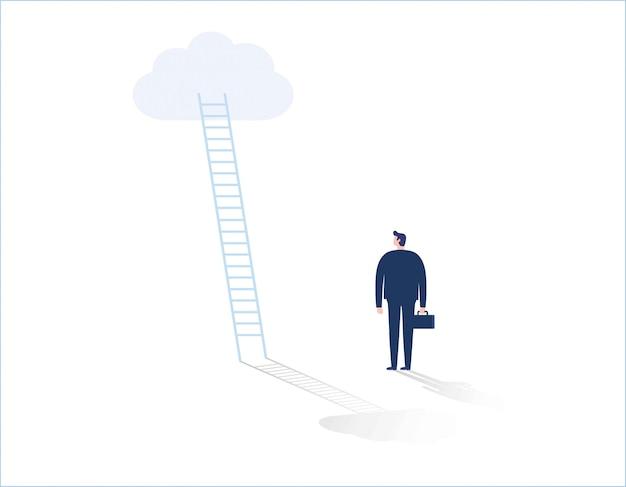 Uomo d'affari in piedi davanti alla scala che porta fino alla nuvola
