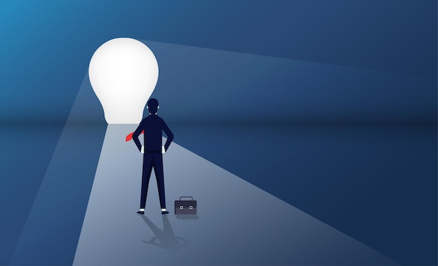 Imprenditore in piedi davanti al concetto di porta della lampadina. simbolo del percorso di carriera e di affari
