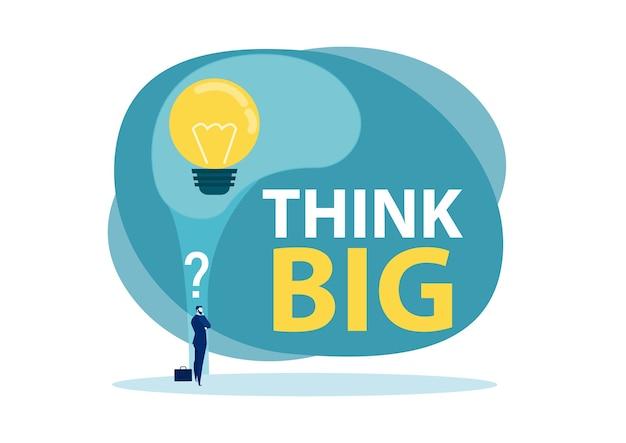 Idea in piedi dell'uomo d'affari con la lampadina sulla testa umana pensare in grande design piatto