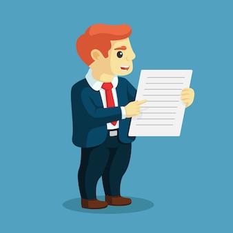 Dito del punto in piedi dell'uomo d'affari alla lavagna per appunti. concetto di affari. stile cartone animato piatto illustrazione vettoriale