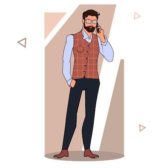 Uomo d'affari in piedi e parlando al telefono. vista frontale. illustrazione del fumetto di vettore di colore