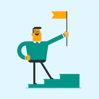 Uomo d'affari che sta sul podio del vincitore con una bandiera.