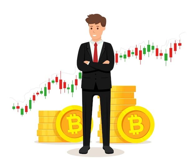 Uomo d'affari in piedi con monete bitcoin dorate e concetto di diagramma grafico commerciale Vettore Premium