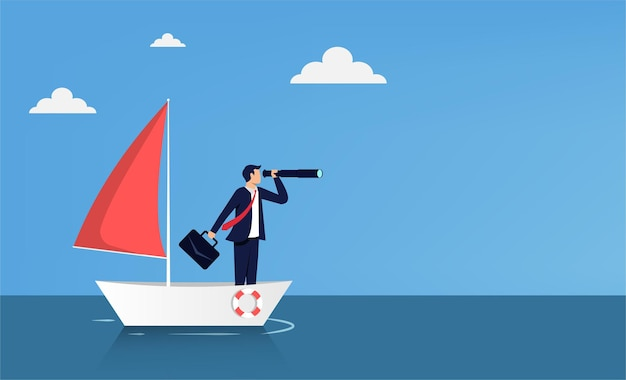 Uomo d'affari in piedi con il telescopio sulla barca a vela. visione aziendale