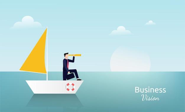 Uomo d'affari in piedi con il telescopio sul simbolo della barca a vela. illustrazione di visione aziendale