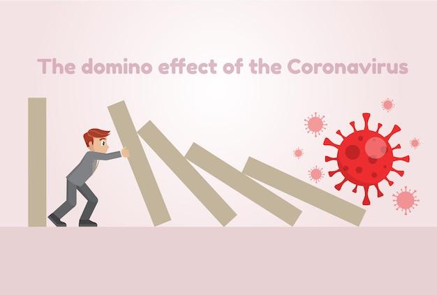 Uomo d'affari che ferma l'effetto domino del coronavirus (covid-19)