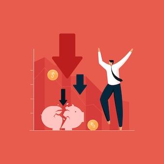 Uomo d'affari alle prese con l'effetto della crisi finanziaria e del mercato azionario globale sulle imprese locali