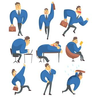 Insieme di attività di lavoro differenti dell'uomo d'affari in un vestito dei disegni