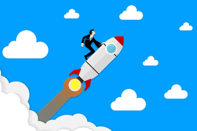L'uomo d'affari in vestito si inginocchia su razzo che vola attraverso il cielo