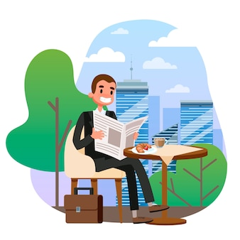 Uomo d'affari in tuta seduto al tavolo nella caffetteria