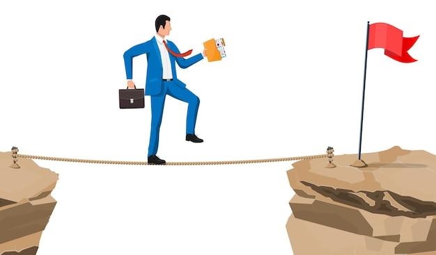 Uomo d'affari in vestito che cammina sulla corda con la valigia e la cartella. uomo di affari che cammina sul divario sul filo del rasoio. ostacolo su strada, crisi finanziaria. sfida di gestione del rischio. illustrazione vettoriale in stile piatto