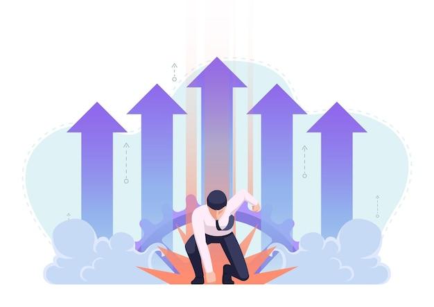Uomo d'affari nella posa di atterraggio del supereroe con la freccia di crescita nel fondo. leader aziendale e concetto di successo.