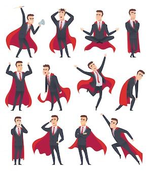 Supereroi dell'uomo d'affari. personaggi maschili in azione pone di cartoni animati di supereroi uomo d'affari
