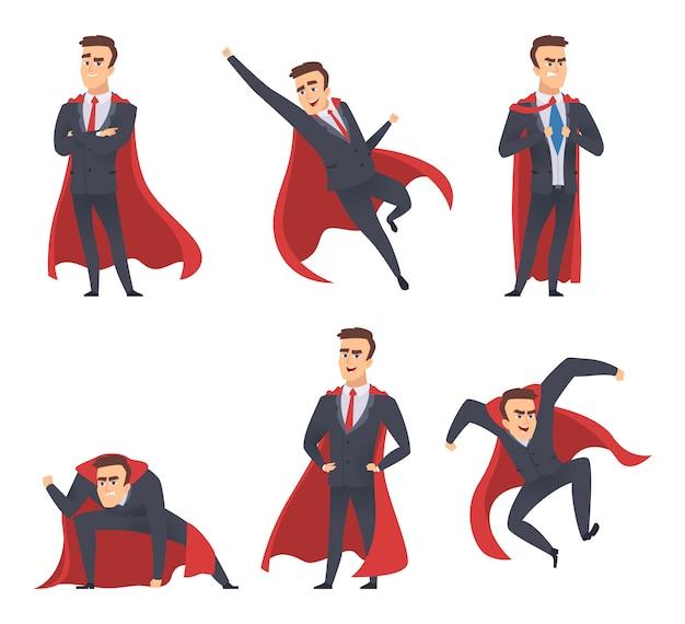 Supereroi di uomo d'affari. i direttori degli uffici direttori lavoratori mantello rosso in piedi azione volante pone personaggi supereroi