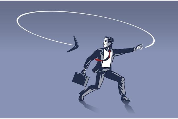 Uomo d'affari sorpreso come boomerang