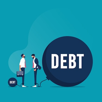 Uomo d'affari sorpreso da altri uomini d'affari debiti enormi il vettore raffigura il debito e l'onere finanziario