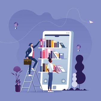 Uomo d'affari che prende i libri dallo scaffale per libri sullo schermo dello smartphone.