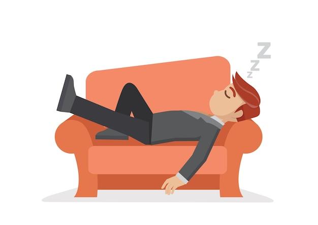 Uomo d'affari schiacciando un pisolino sul divano.