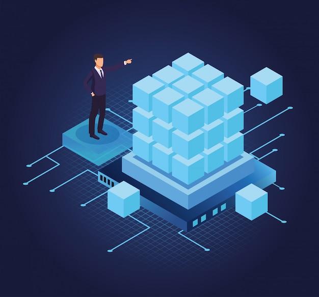 Uomo d'affari e tecnologia isometrica
