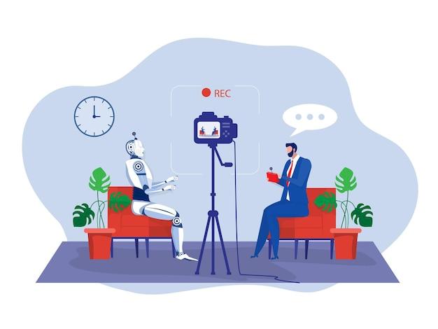 L'uomo d'affari testa un robot tecnologia di intelligenza artificiale con telecomando e registra video