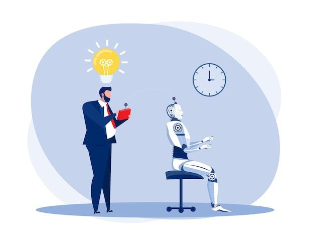 L'uomo d'affari prova un robot tecnologia di intelligenza artificiale con telecomando.illustratore vettoriale