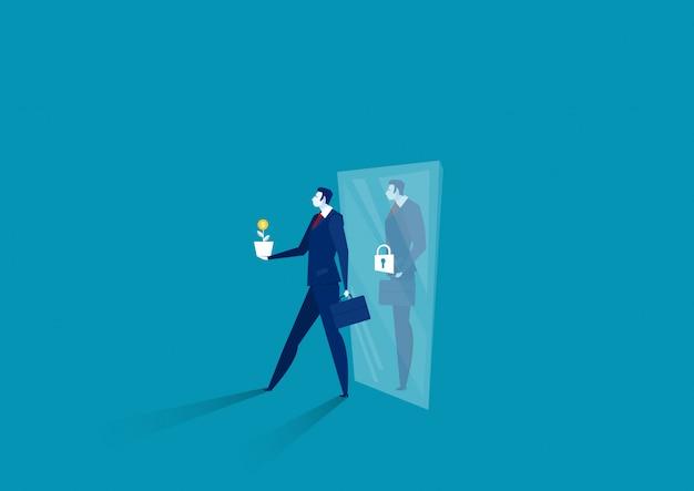 L'uomo d'affari pensa che la mentalità della crescita cammina dal vettore di concetto di mentalità fissa dello specchio