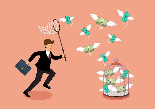 Uomo d'affari che cerca di catturare soldi volanti in gabbia per uccelli