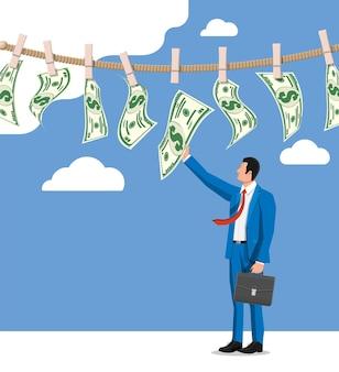 Uomo d'affari che prova a bagnarsi le banconote in dollari appese alla corda. riciclaggio di denaro. soldi sporchi. salari nascosti, stipendi pagati in nero, evasione fiscale, tangenti. anti corruzione. illustrazione vettoriale piatta