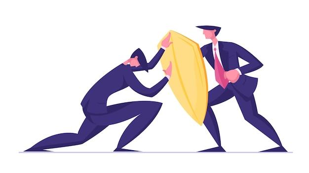 Uomo d'affari che cerca di superare la resistenza che attacca l'uomo con lo scudo d'oro