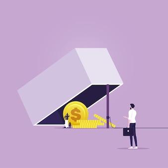 Uomo d'affari che cerca di raggiungere una trappola con moneta da un dollaro concetto di trappola del denaro metafora del rischio finanziario risk