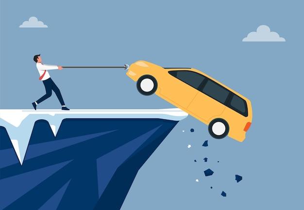 Uomo d'affari che cerca di salvare la sua illustrazione di auto