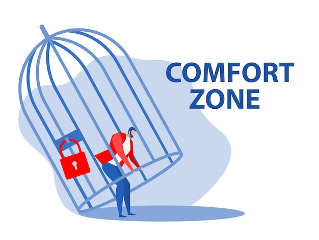 Uomo d'affari che prova a sbloccare la gabbia e la zona di comfort, concetto di libertà
