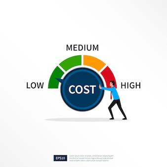 Uomo d'affari che gira il quadrante dei costi su un'illustrazione bassa. riduzione dei costi, riduzione dei costi e concetto di efficienza