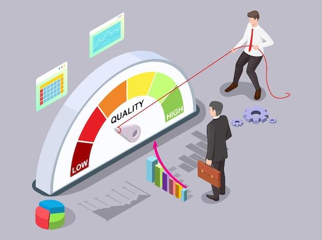 Uomo d'affari che gira la freccia del misuratore di qualità con la corda, illustrazione isometrica di vettore. gestione della qualità, miglioramento.