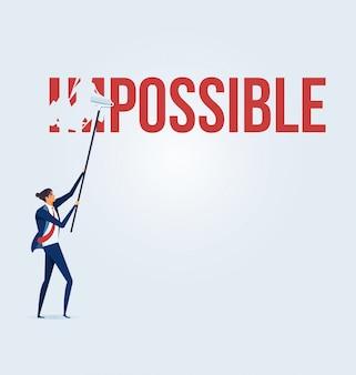 Uomo d'affari che trasforma la parola impossibile in possibile