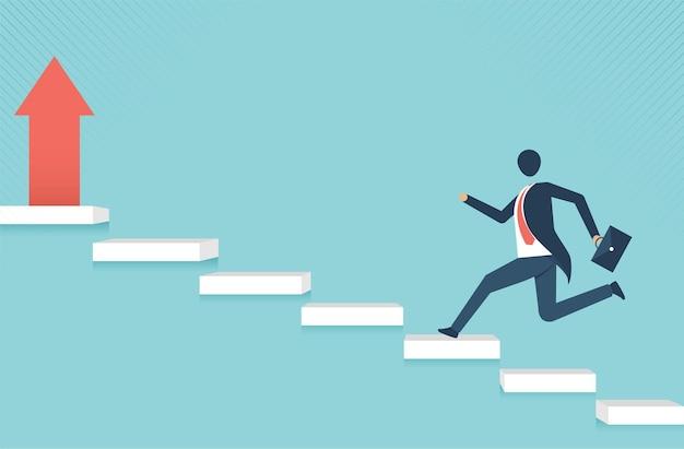 Uomo d'affari su per le scale verso la crescita del concetto di business della leadership degli obiettivi e il percorso verso il successo